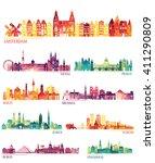 skyline detailed silhouette set ...   Shutterstock .eps vector #411290809