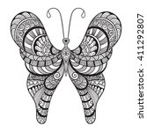 vector doodle butterfly  tattoo ... | Shutterstock .eps vector #411292807