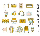 funny cinema icons set. thin...