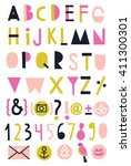 creative alphabet  numbers and... | Shutterstock .eps vector #411300301