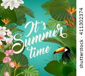 summer typographical background ... | Shutterstock .eps vector #411302374