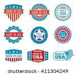 red and blue made in the usa... | Shutterstock .eps vector #411304249
