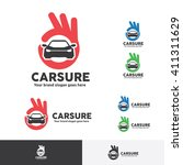 car sure logo with ok fingers... | Shutterstock .eps vector #411311629