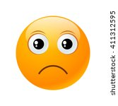 upset yellow round emoticon... | Shutterstock .eps vector #411312595