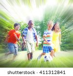 group of children playing... | Shutterstock . vector #411312841
