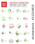 geometric leaf icon set. thin... | Shutterstock .eps vector #411314815