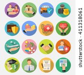 insurance round flat icons set... | Shutterstock .eps vector #411318061