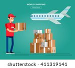funny delivery character man... | Shutterstock .eps vector #411319141