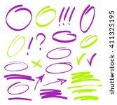 set of hand drawn highlighting...   Shutterstock .eps vector #411325195