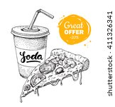 vector vintage fast food... | Shutterstock .eps vector #411326341