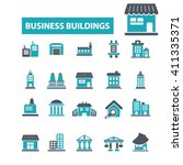 business buildings icons  | Shutterstock .eps vector #411335371