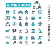 buying home icons  | Shutterstock .eps vector #411335374