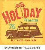 surf. vintage surf car t shirt... | Shutterstock .eps vector #411335755