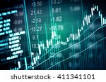 financial data on a monitor.... | Shutterstock . vector #411341101
