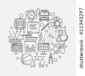 school education round symbol   ... | Shutterstock .eps vector #411343297