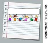 notebook paper happy kids with... | Shutterstock .eps vector #411343405