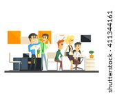 office team working flat vector ...   Shutterstock .eps vector #411344161