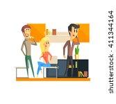 office team relaxing flat... | Shutterstock .eps vector #411344164
