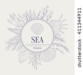 sea vintage vector hand drawn... | Shutterstock .eps vector #411344911