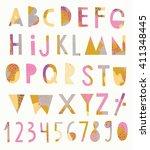 vector creative alphabet and... | Shutterstock .eps vector #411348445