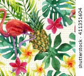 tropical watercolor pineapple ... | Shutterstock . vector #411351604
