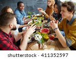 dinner conversation | Shutterstock . vector #411352597