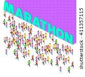 running team marathon | Shutterstock .eps vector #411357115
