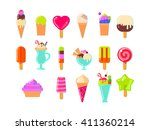 ice cream and popsicles on... | Shutterstock .eps vector #411360214