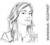 vector art drawing  portrait of ... | Shutterstock .eps vector #411374407