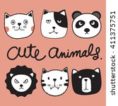 Set Cute Animals Included Cat...