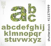 floral font  hand drawn vector... | Shutterstock .eps vector #411379999