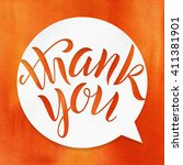 thank you. lettering on...   Shutterstock . vector #411381901
