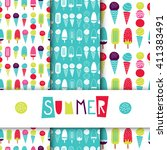 set of seamless bright vector... | Shutterstock .eps vector #411383491