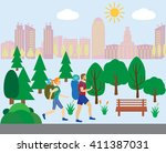 tourism and journey man and... | Shutterstock .eps vector #411387031