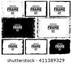 grunge frame texture set  ... | Shutterstock .eps vector #411389329