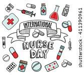 international nurse day card ... | Shutterstock .eps vector #411390961