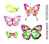 butterflies design | Shutterstock . vector #411391561