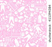 cute baby seamless pattern.... | Shutterstock . vector #411394384