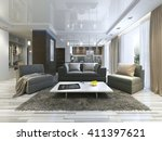 luxury living room studio in a... | Shutterstock . vector #411397621