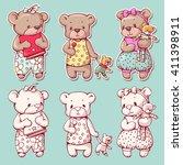 vector set of  funny cartoon... | Shutterstock .eps vector #411398911