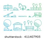 children's playground with... | Shutterstock .eps vector #411407905