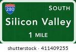 silicon valley usa interstate... | Shutterstock . vector #411409255