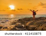 happy man tourist with a... | Shutterstock . vector #411410875