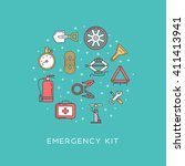 emergency road kit items.... | Shutterstock .eps vector #411413941