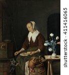 Woman Eating  By Gabriel Metsu...