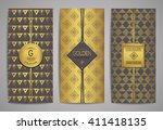 set of golden brochures with... | Shutterstock .eps vector #411418135