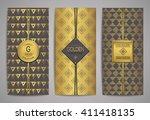 set of golden brochures with... | Shutterstock .eps vector #411418135