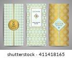 set of golden brochures with...   Shutterstock .eps vector #411418165