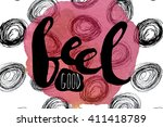 a colorful poster with pink... | Shutterstock .eps vector #411418789