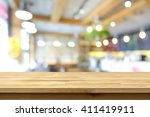 wood table top on blur... | Shutterstock . vector #411419911